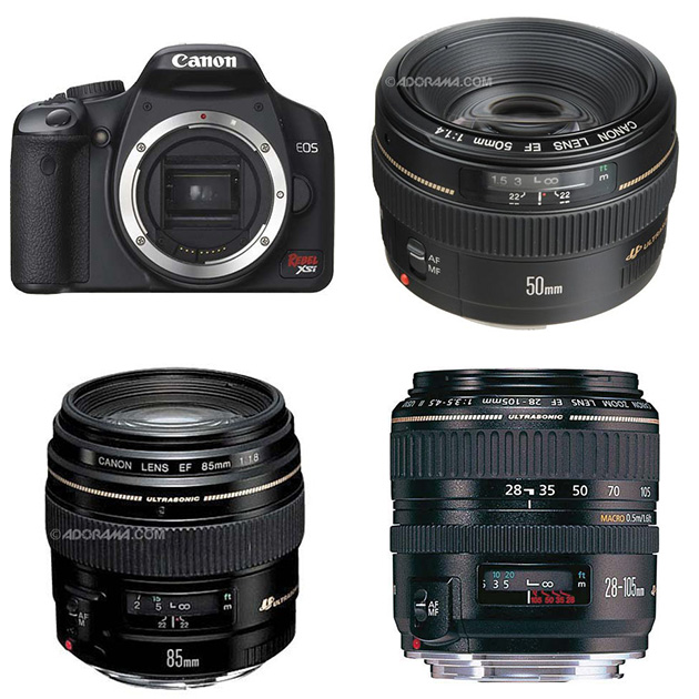 Canon EOS Digital Rebel XSi, Canon EF 50mm f/1.4, Canon EF 85mm f/1.8 & Canon EF 28-105mm f/3.5-4.5 II