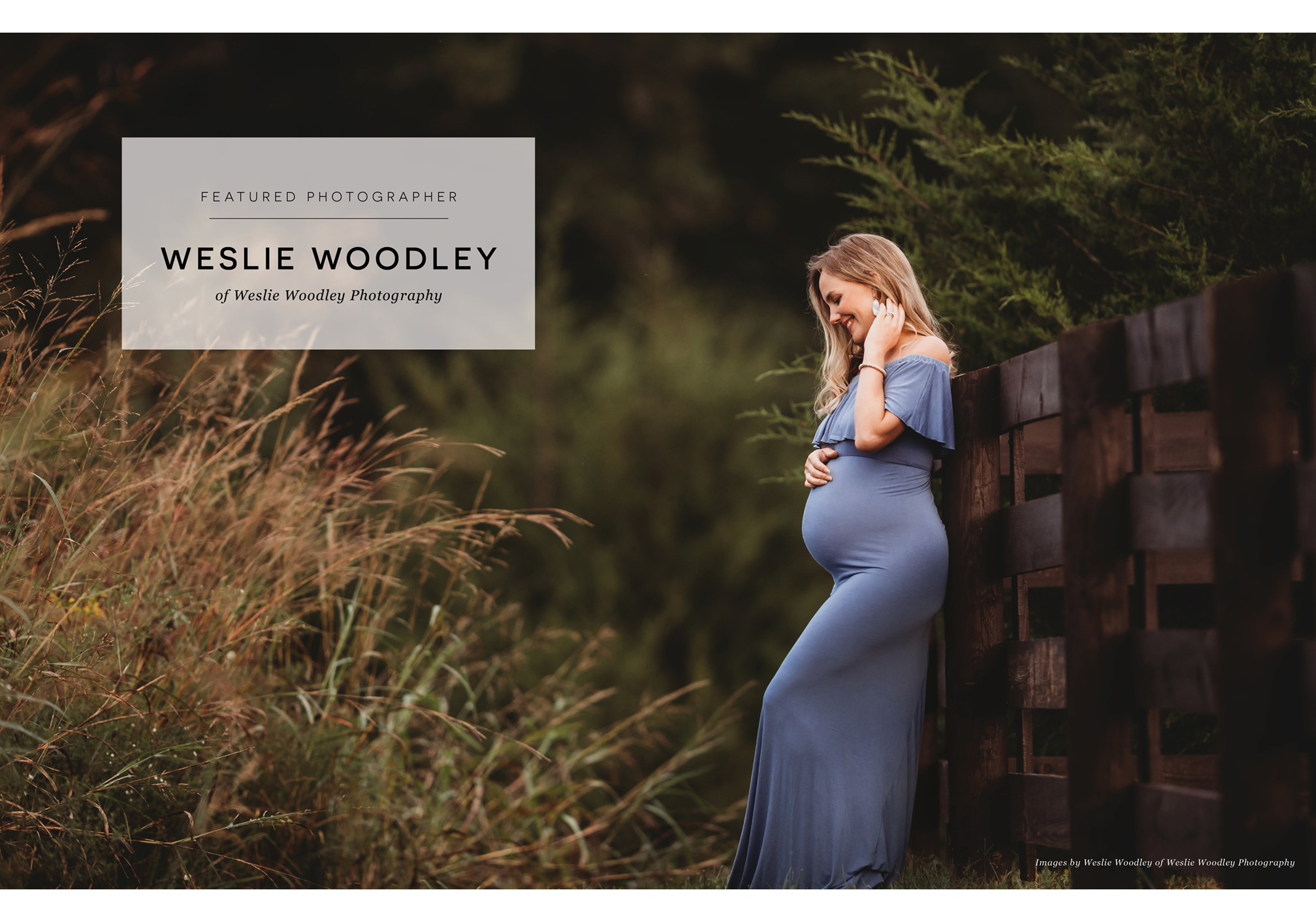 pregnant woman wearing blue dress, leaning against a farm fence