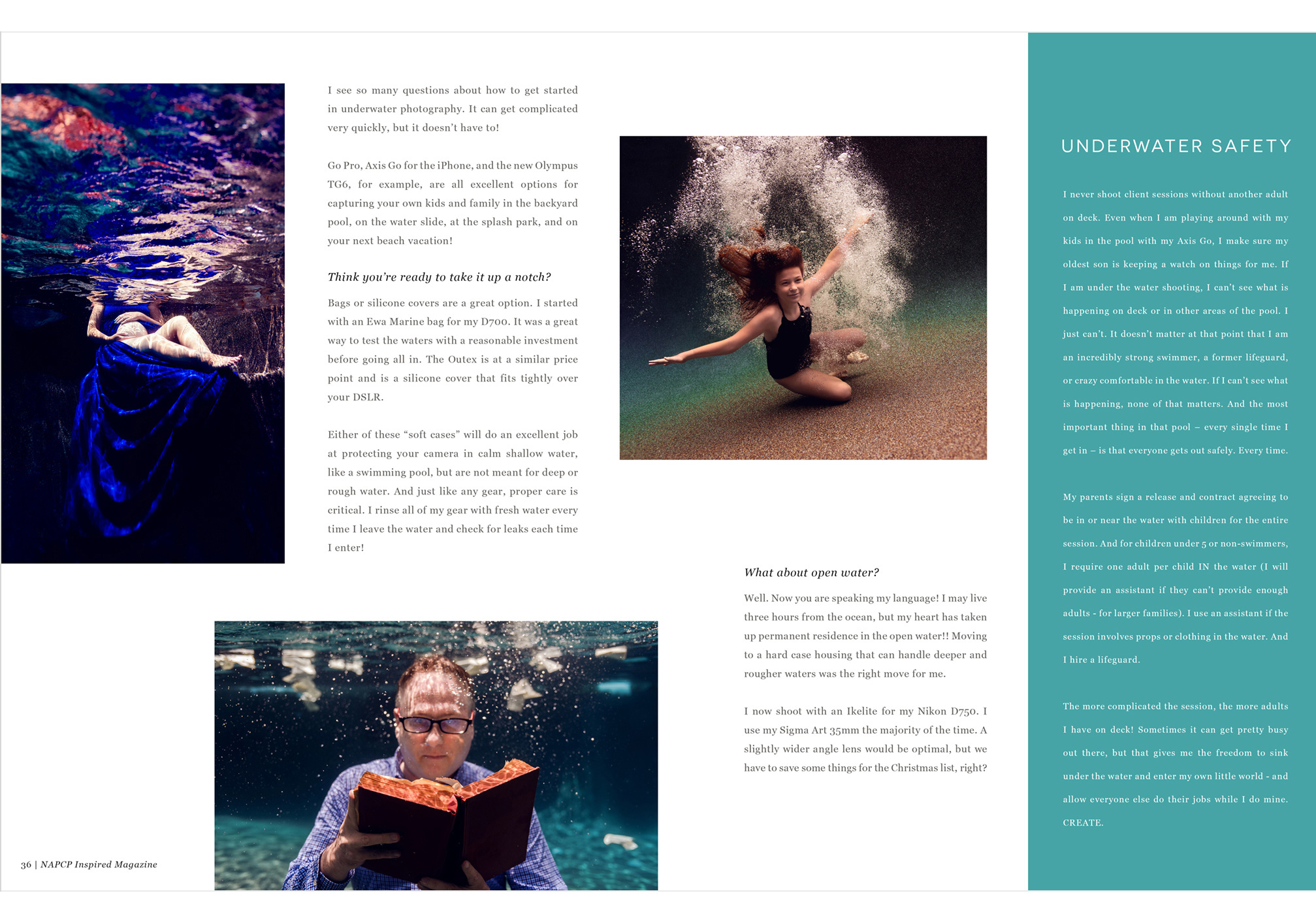 Renee Stengel Photography magazine spread, underwater safety