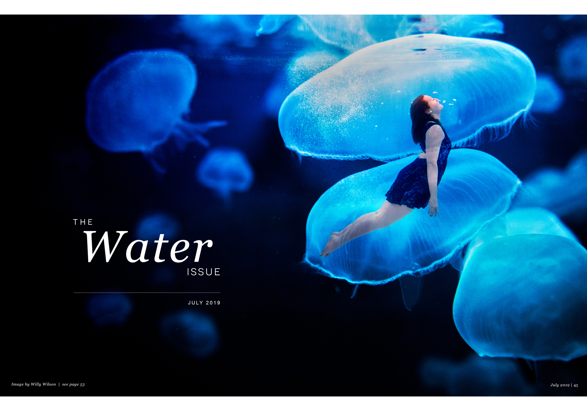 The Water Issue July 2019, woman in blue dress, swimming with giant jellyfish