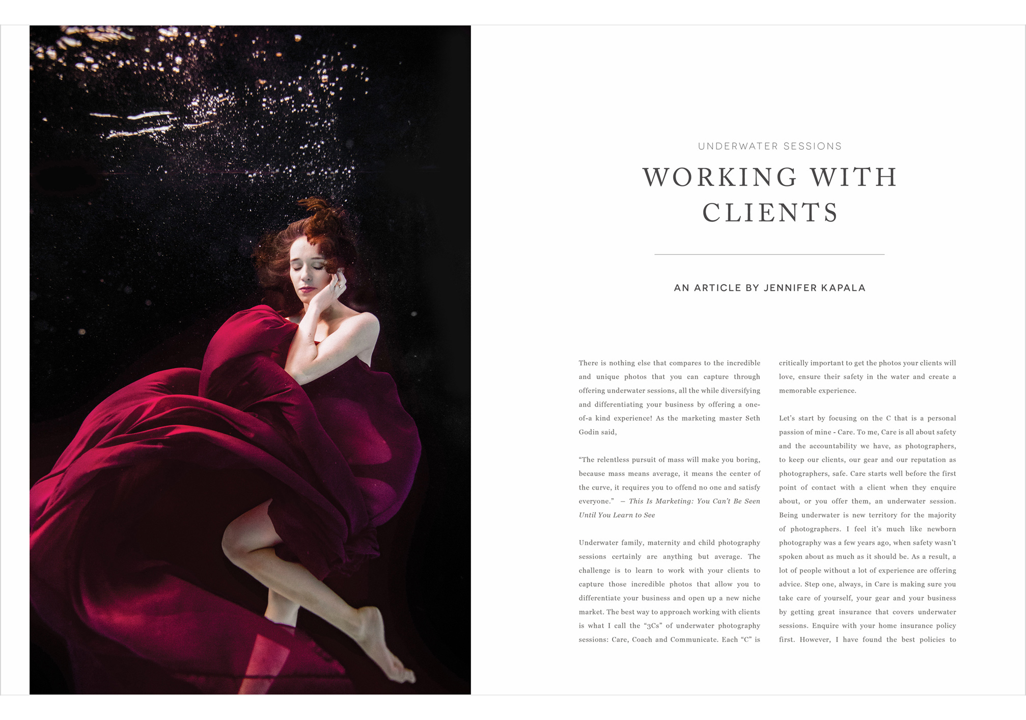 Underwater Sessions, Working with Clients, an article by Jennifer Kapala