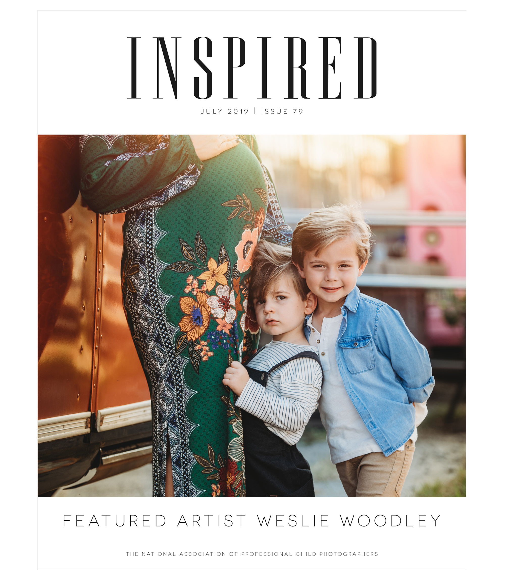 Inspired magazine July 2019 Issue 79 cover, featured artist Weslie Woodley