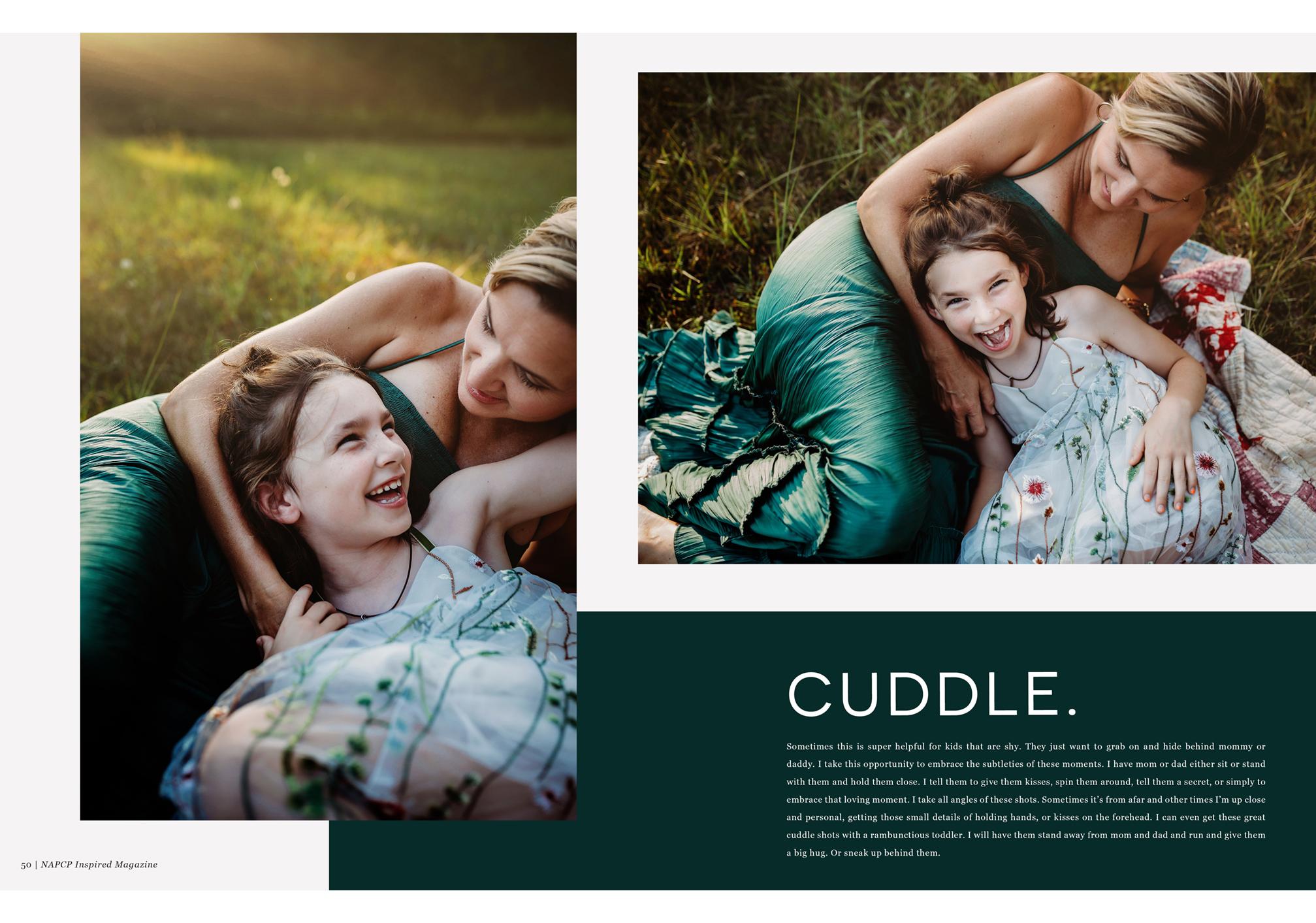 NAPCP Inspired Magazine, CUDDLE spread by Gina Whalen