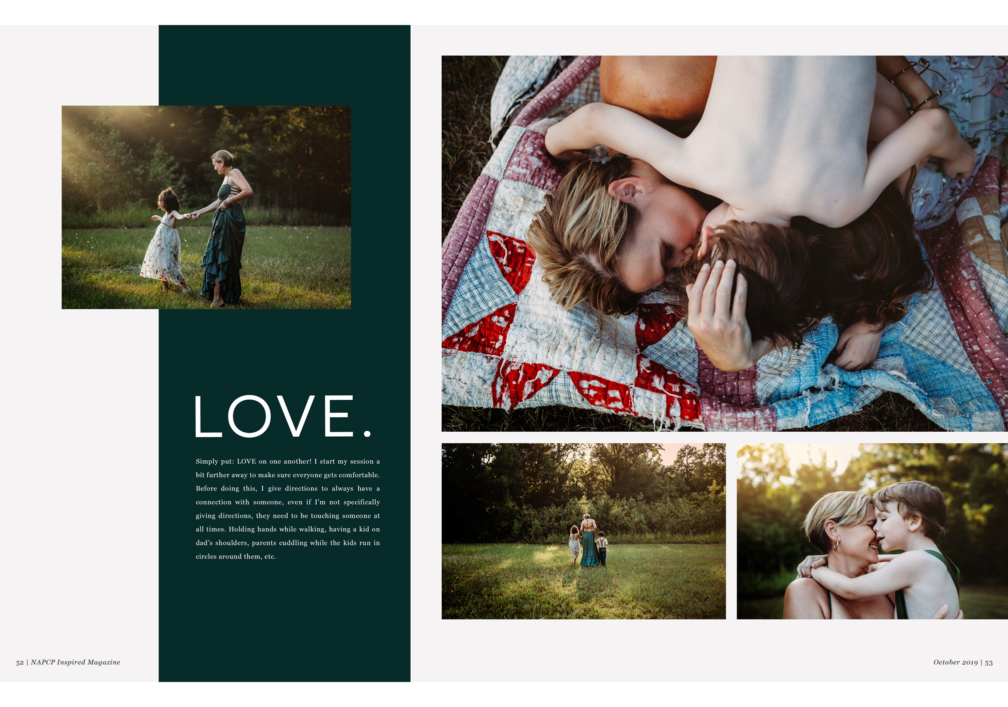 LOVE image spread by Gina Whalen, NAPCP Inspired Magazine, October 2019