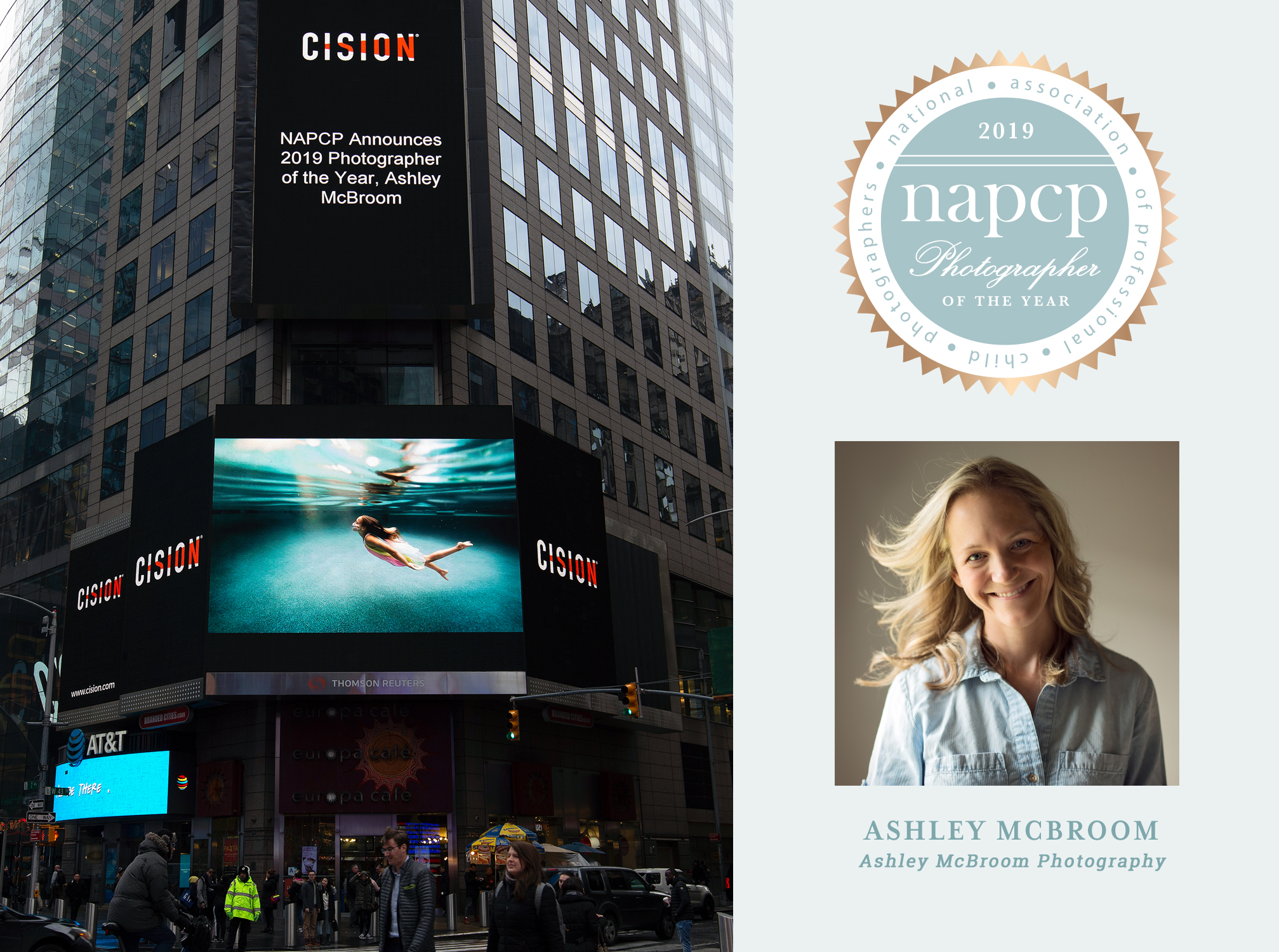 CISION, NAPCP Announces 2019 Photographer of the Year, Ashley McBroom, Ashley McBroom Photography, Times Square billboard, digital billboard, New York City