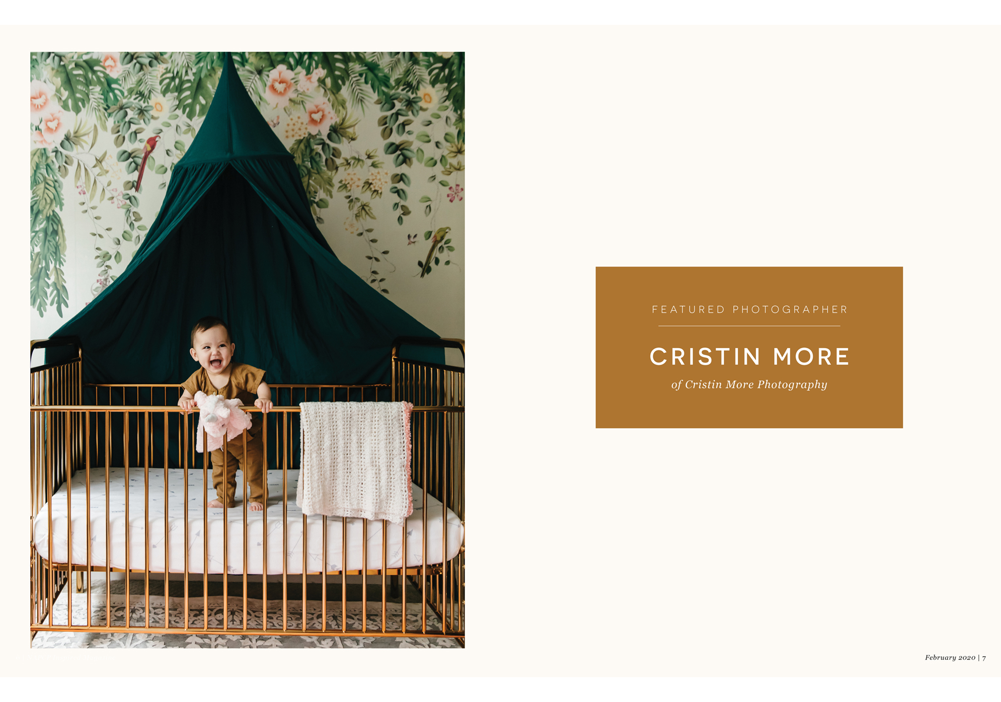 jungle wallpaper, crib canopy, smiling baby, standing baby, copper crib, Featured Photographer, Cristin More, Cristin More Photography