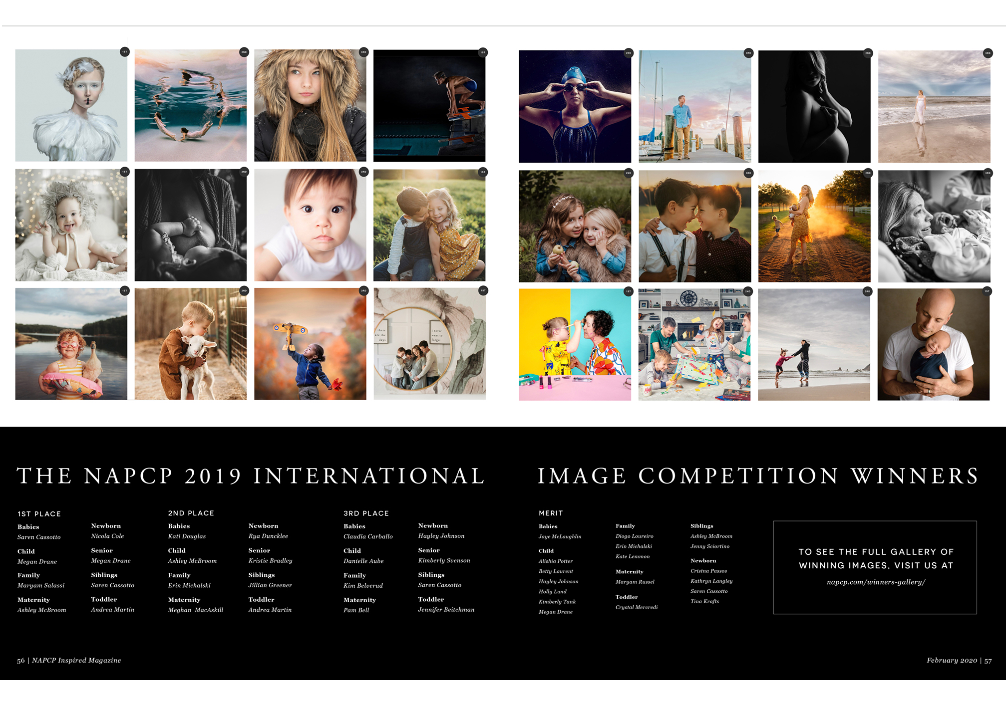 NAPCP 2019 International Image Competition Winners, winning images spread, NAPCP Inspired Magazine