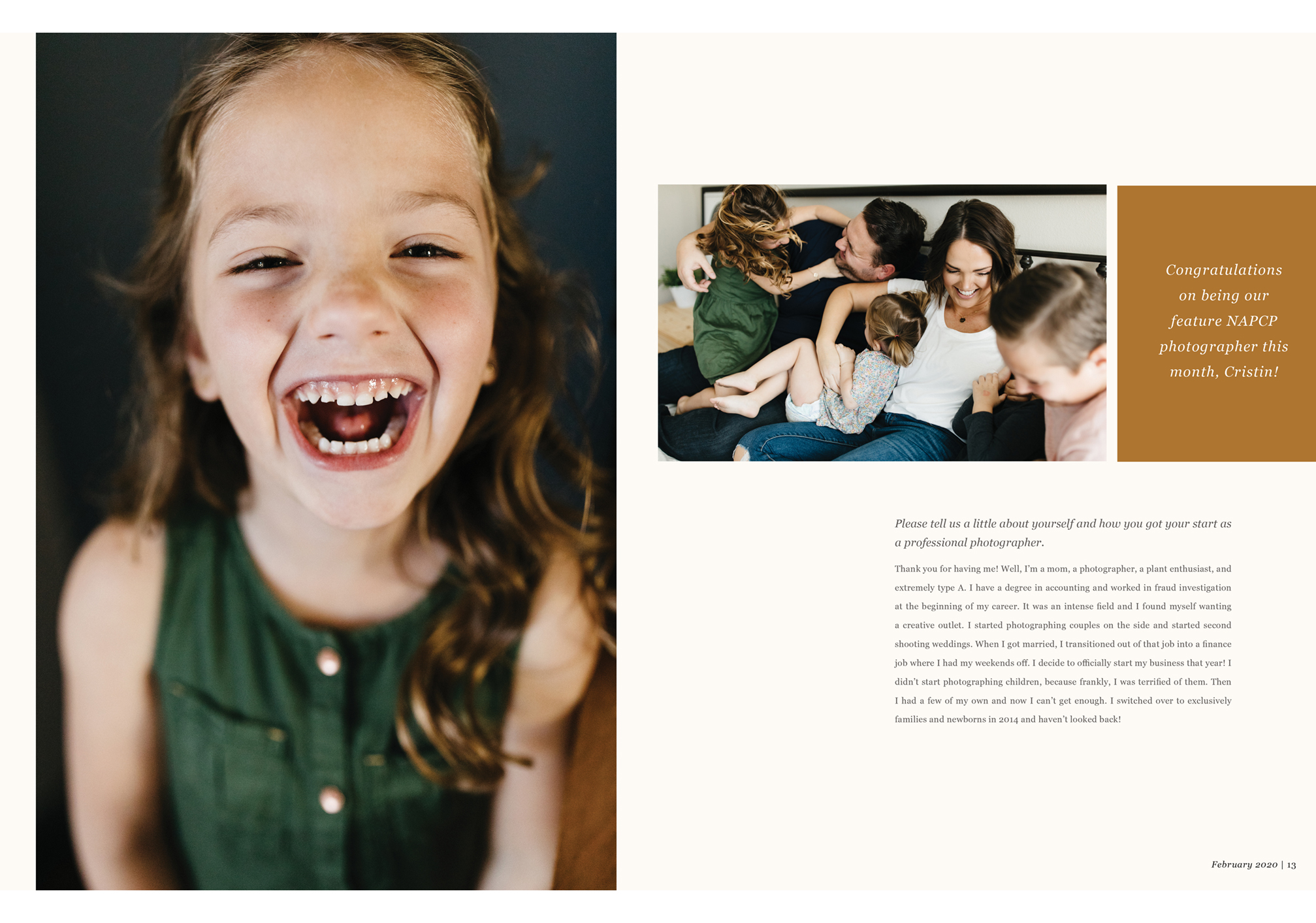 child portrait, laughing girl, family with 3 kids, Cristin More Photography interview, February 2020