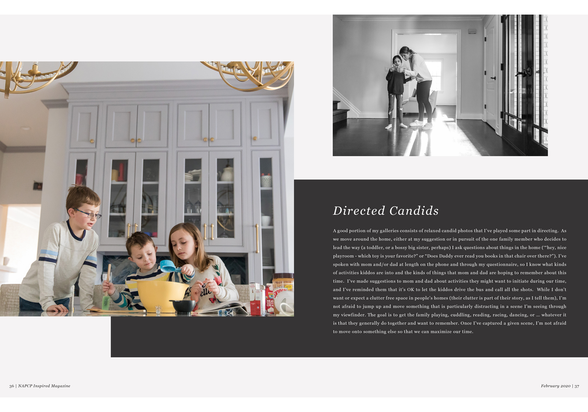 directed candid photography, siblings baking together, black and white image, Jaye McLaughlin article