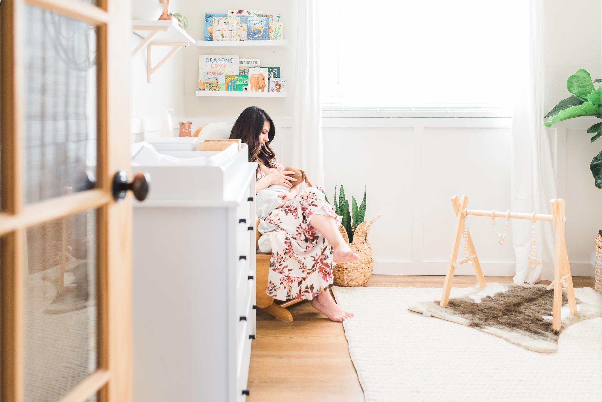 southwest theme nursery, nursery decor, mom and baby in nursery, newborn lifestyle photos